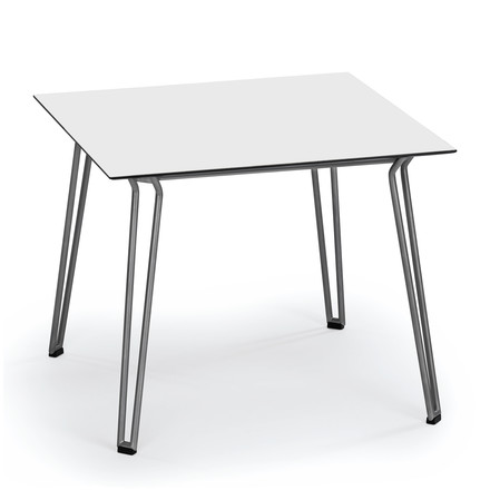 Slope Table 90 x 90cm of Weishäupl made of stainless steel in white HPL