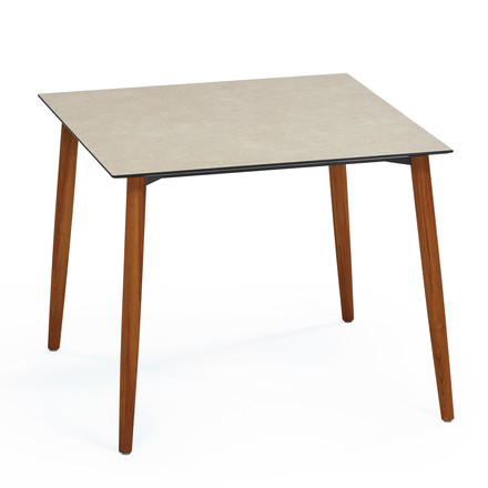 Slope Table 90 x 90cm by Weishäupl made of teak in HPL taupe