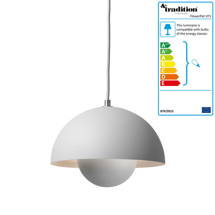 &Tradition - FlowerPot Pendant Lamp VP1, light grey matt