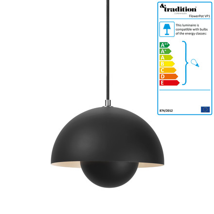 &Tradition - FlowerPot Pendant Lamp VP1, matte black
