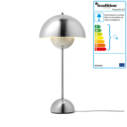 &Tradition - FlowerPot Table Lamp VP3, polished steel