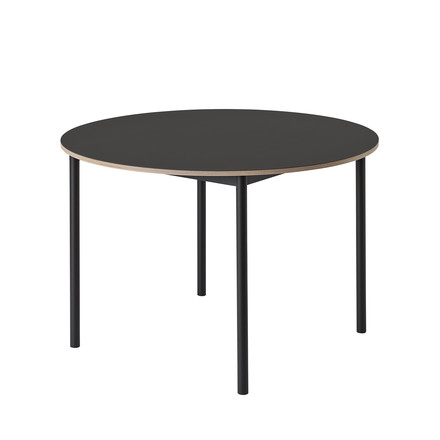 The Base Table Ø 110cm in black / plywood edge by Muuto