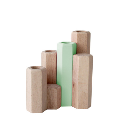 Jacques Candle Holder by Hartô in the set of 4 in Pastel green (RAL 6019)