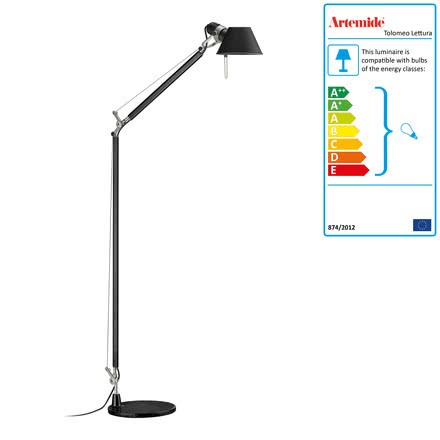 Tolomeo Lettura Standard Lamp by Artemide in Black