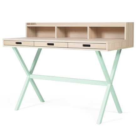 Hyppolite Secretary Desk by Hartô in oak pastel green (RAL 6019)