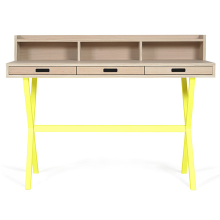 Hyppolite Secretary Desk by Hartô in oak lemon yellow (RAL 1016)