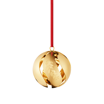 Christmas ball 2016 gilded by Georg Jensen with Red Ribbon