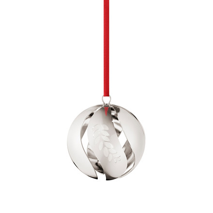 Christmas ball 2016 palladium-plated by Georg Jensen with Red Ribbon