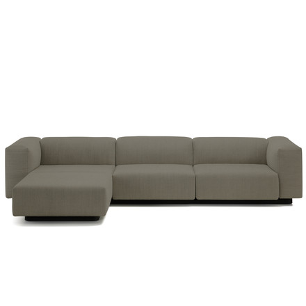 Vitra - Soft Modular Sofa, 3-seater with chaise longue left, warm grey (Laser 05)