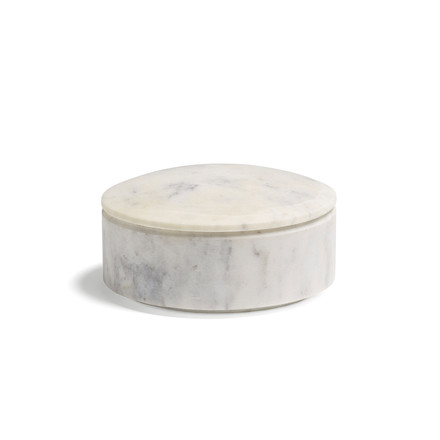 Hay - Lens box with Lid S, stackable, Ø 10cm, white, marble