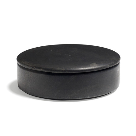Hay - Lens box with Lid S, stackable, Ø 10cm, black, marble