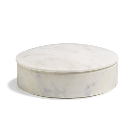 Hay - Lens box with Lid M, stackable, Ø 14cm, white, marble