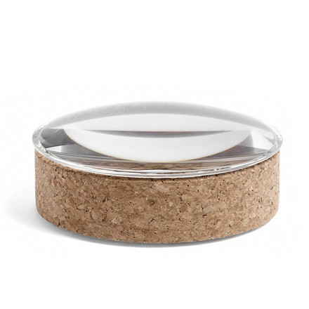 Hay - Lens Box with Lid M, stackable, Ø 14cm, cork with glass lid