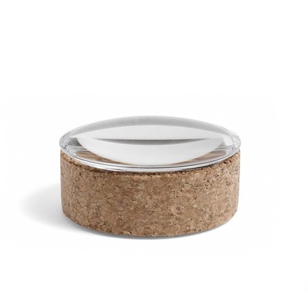 Hay - Lens Box with Lid S, stackable, Ø 10 cm, Cork with glass lid