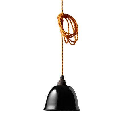 The Nook London - Miniature Bell lamp shade in black with yellow cable