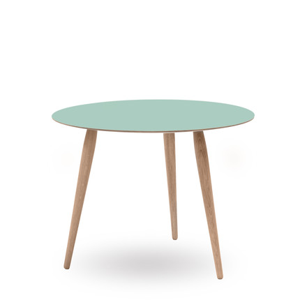 Play Round Laminate Side Table Ø 75 cm by bruunmunch in Dusty Jade / oak white oil