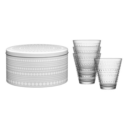 The Iittala - Kastehelmi glass 30cl, clear in the set of 4 with grey box