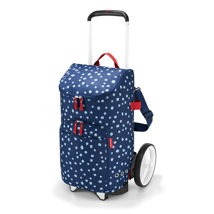 The reisenthel - citycruiser bag shopping trolley with spots in navy and citycruiser rack in white