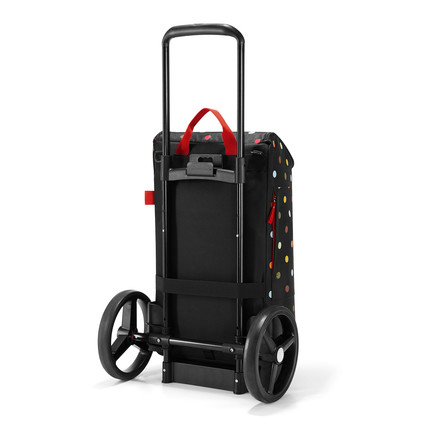 The reisenthel - citycruiser bag shopping trolley with dots and citycruiser rack in black