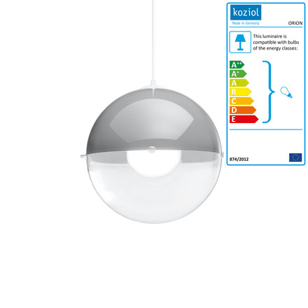 Koziol - Orion Pendant Lamp, grey / transparent