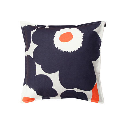 Marimekko - Unikko Cushion Cover 50 x 50 cm, white / navy blue / orange (Autumn 2016)