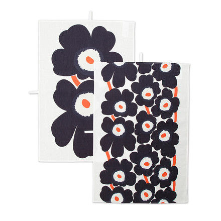 Marimekko - Unikko Tea Towel, set of 2, white / navy blue / orange (Autumn 2016)