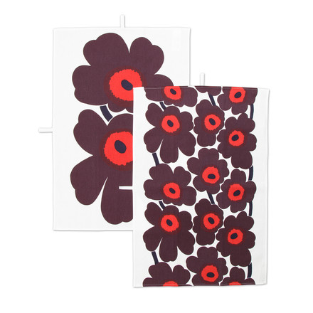 Marimekko - Pieni Unikko Tea Towel, set of 2, white / red / plum