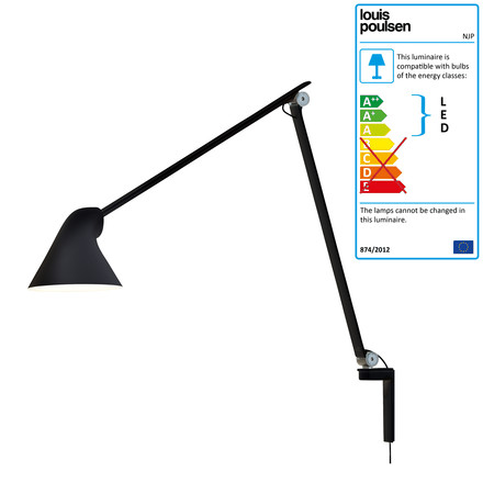 Louis Poulsen - NJP Wall Lamp, long arm, black