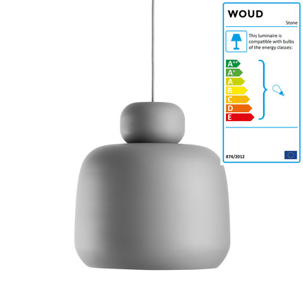 Stone Pendant Lamp by Woud in Grey