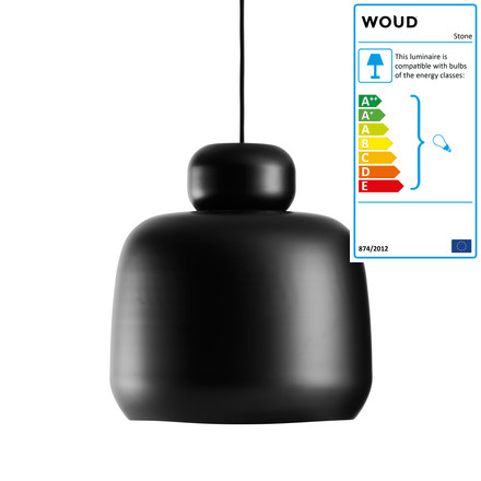 Stone Pendant Lamp Large by Woud in Black