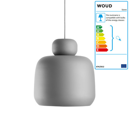 Woud - Stone Pendant Lamp, small, grey