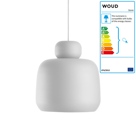 Woud - Stone Pendant Lamp, small, white