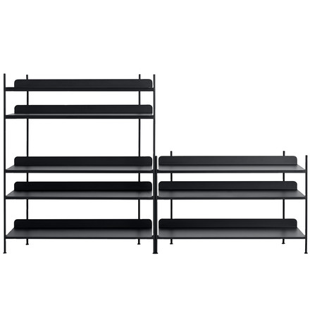 Compile Shelving System (Config. 7) by Muuto in black