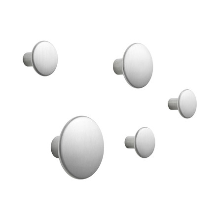 "Set of 5 Wall Hooks ""The Dots Metal"" by Muuto in aluminium"