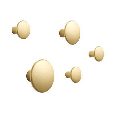 "Set of 5 Wall Hooks ""The Dots Metal"" by Muuto in brass"