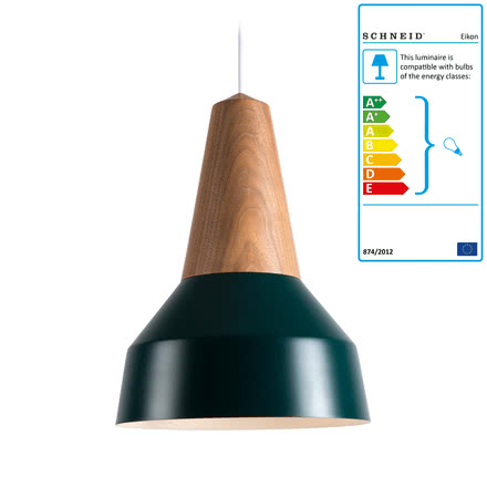 The Schneid - Eikon Basic Pendant Lamp in walnut / green