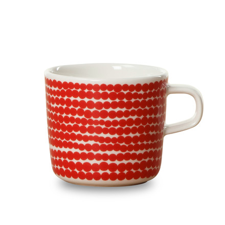 Oiva Räsymatto Cup with Handle 200 ml by Marimekko in Red / White