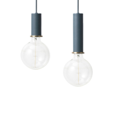 The ferm Living - Socket Pendant Lamp Low and High in dark blue