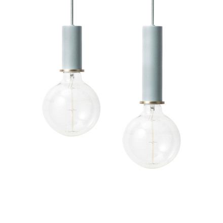 The ferm Living - Socket Pendant Lamp Low and High in light blue