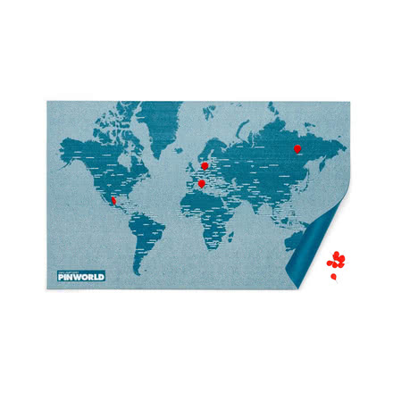 Palomar - Pin World, light blue with red pins