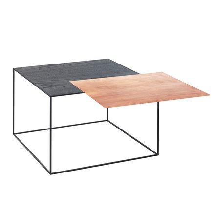 Twin 49 Side Table with Black Frame of by Lassen with copper / black ash Top