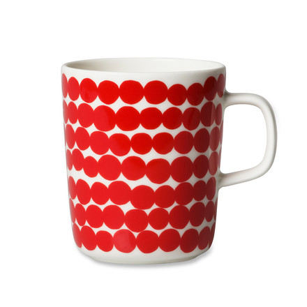 Marimekko - Oiva Räsymatto Cup with Handle,  white / red, 250 ml