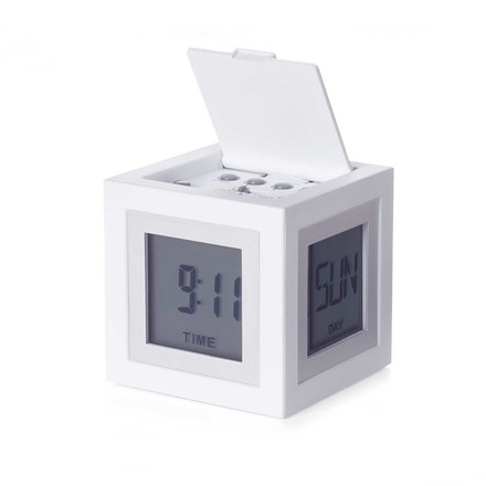 Cubissimo LCD Alarm Clock by Lexon in White