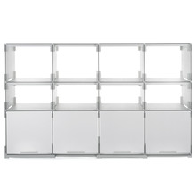 Plattenbau, white- rear panel 62cm, shelf height: 15cm