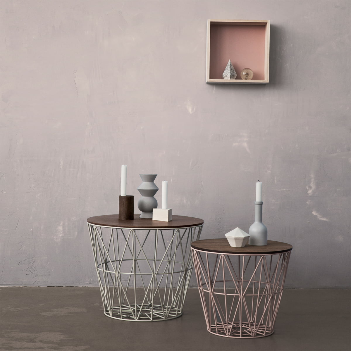the wire basket from ferm living in the shop. Black Bedroom Furniture Sets. Home Design Ideas