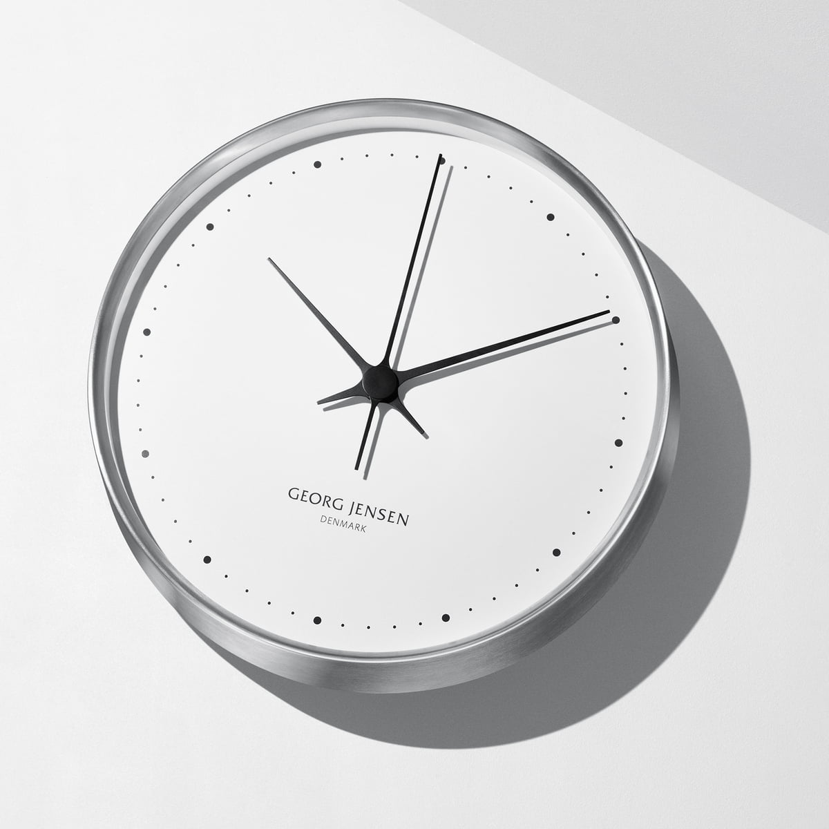 wall clock by henning koppel for georg jensen - georg jensen  henning koppel wall clock Ø  cm stainless steel  white