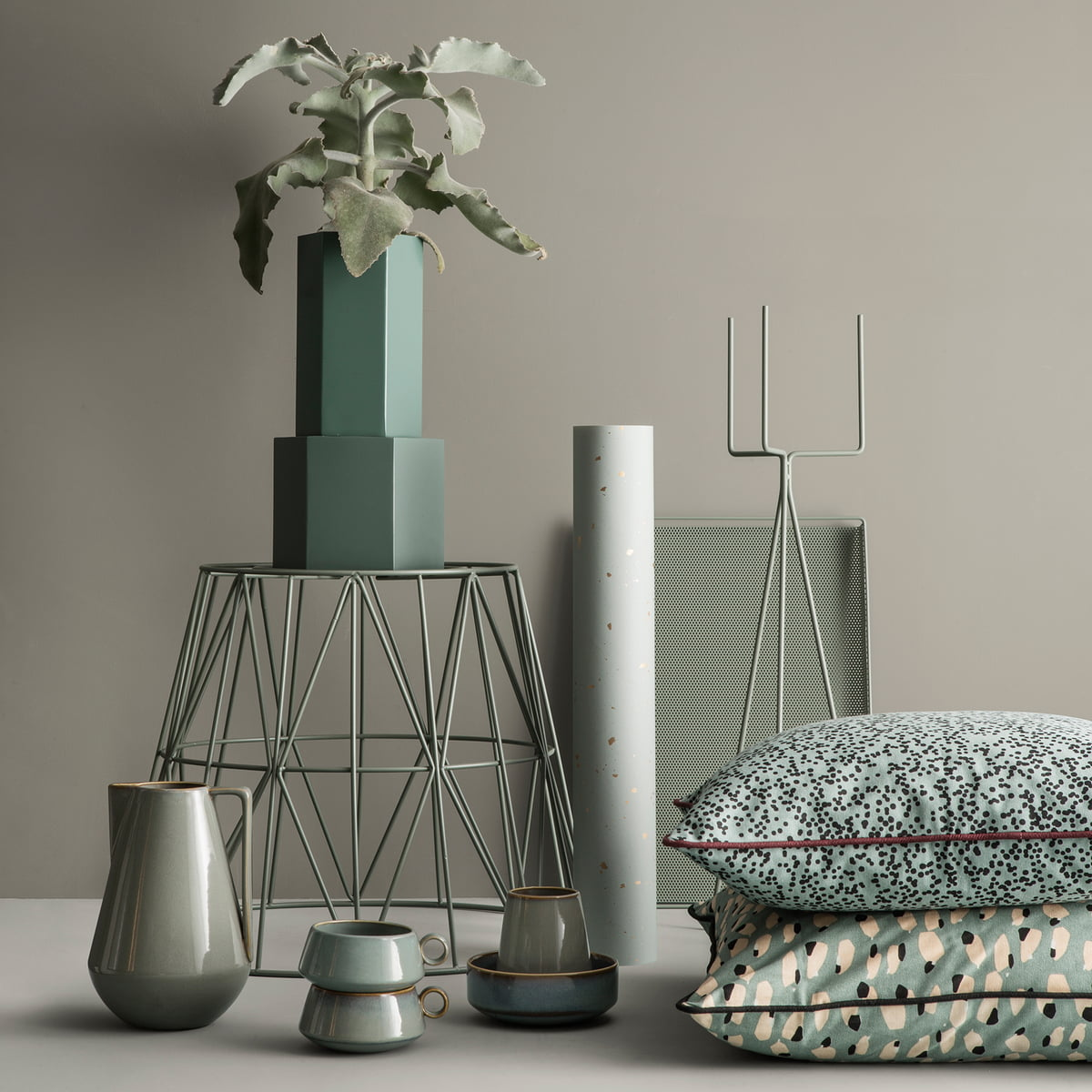 plant stand by ferm living in the shop - hexagon flowerpot and vase with plant stand by ferm living