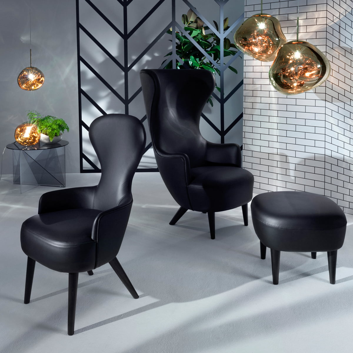 Wing chair with ottoman - Wingback Collection And Melt Lamp