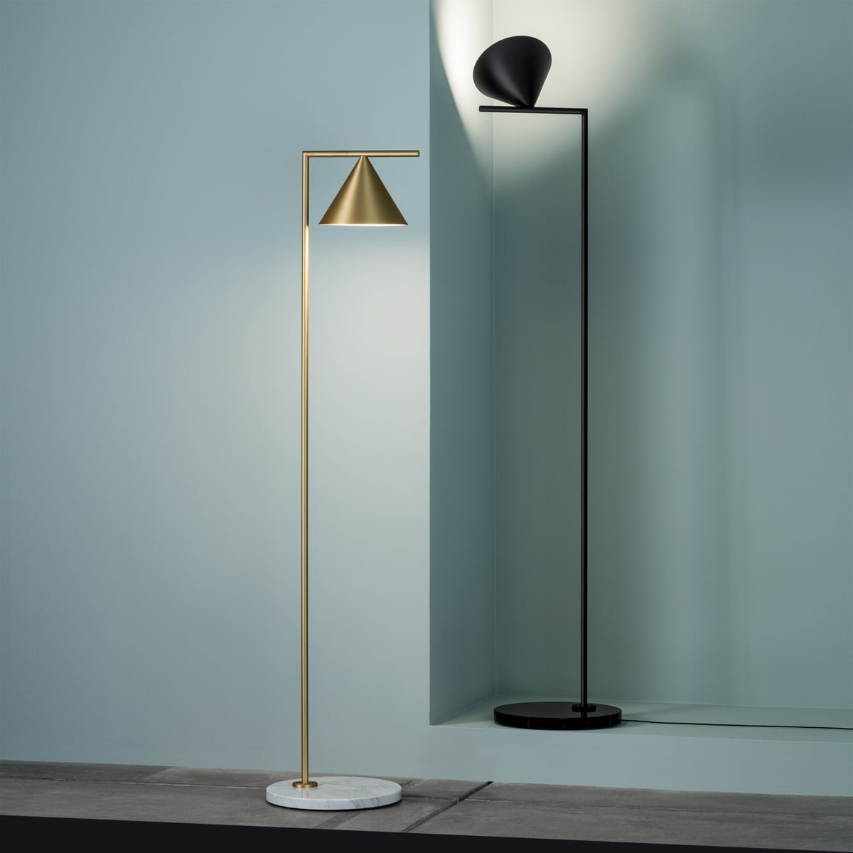 captain flint led floor lamp by flos - the captain flint led floor lamp by flos in brass and black