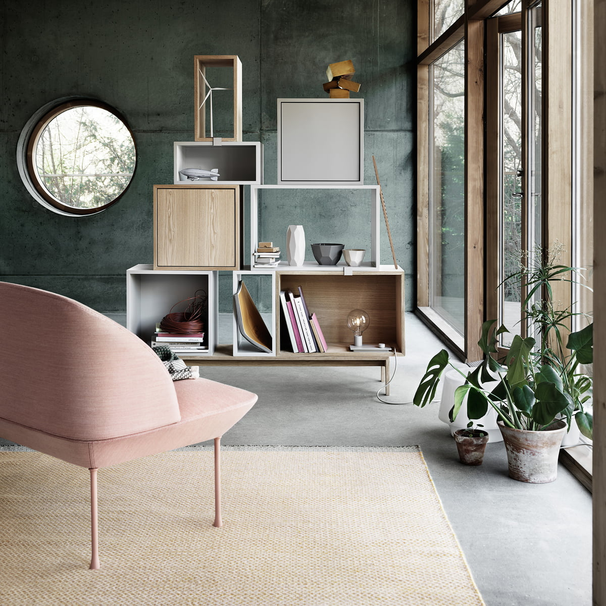 stacked shelving system ash wood by muuto